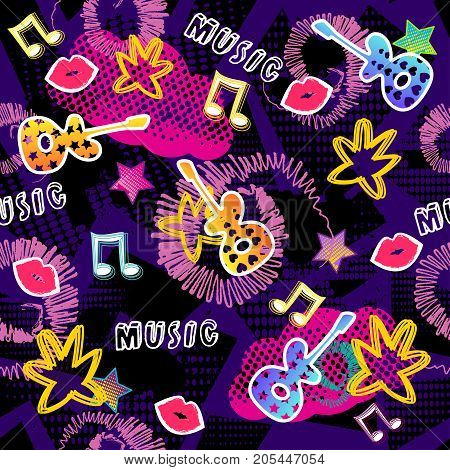 Abstract Seamless Pattern For Girls, Boys, Clothes. Creative Vector Background With Dots, Guitar, Li