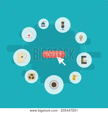 Flat Icons Coffee Mill, Mocha, Espresso Dispenser And Other Vector Elements