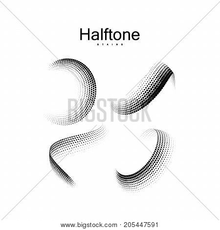Halftone 3d twisted shapes. Vintage vector halftone curved faded ribbons. Set of dotted stains. Web and print design elements