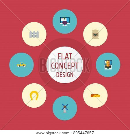 Flat Icons Windmill, Grain, Wooden Barrier And Other Vector Elements