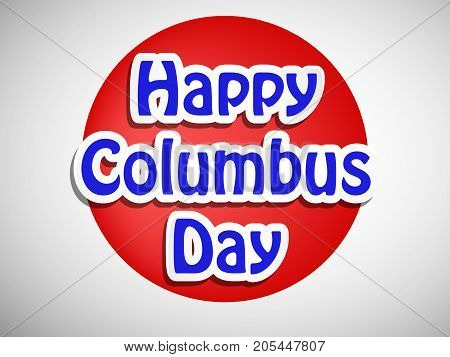 illustration of Happy Columbus Day text on the occasion of Columbus Day
