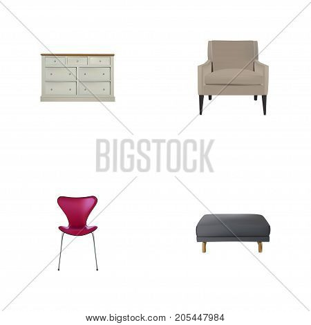 Realistic Stool, Cupboard, Footstool And Other Vector Elements