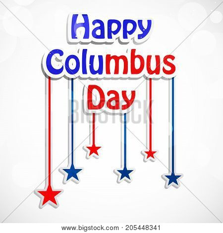 illustration of hanging stars with Happy Columbus Day text on the occasion of Columbus Day
