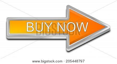 orange Buy now arrow Button - 3D illustration
