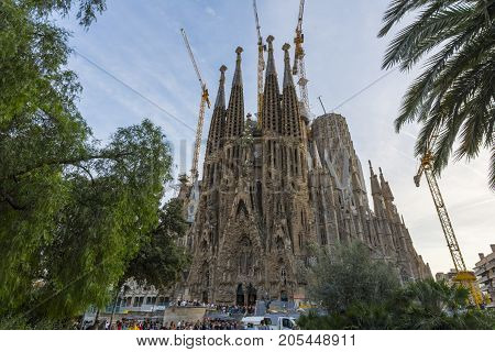 Nativity Facade From The Sagrada Familia Catholic Church In Barcelona, Catalonia