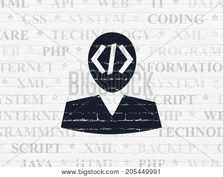 Database concept: Painted black Programmer icon on White Brick wall background with  Tag Cloud
