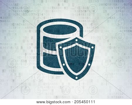 Programming concept: Painted blue Database With Shield icon on Digital Data Paper background with Scheme Of Hexadecimal Code