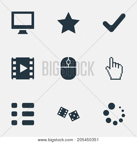 Elements Gambling, Preloader, Mark And Other Synonyms Checklist, Monitor And Pointer.  Vector Illustration Set Of Simple Play Icons.