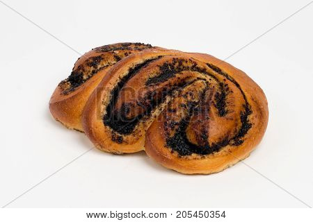 Sweet cinnamon bun roll swirl isolated. white background