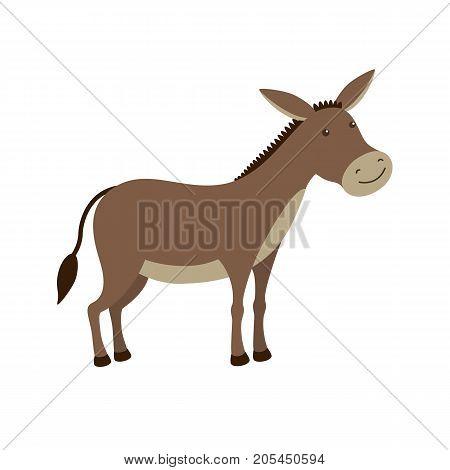 Cartoon donkey smile and happy. Flat vector illustration isolated on white background