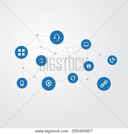 Elements Palmtop, Update , Handset Synonyms Point, Chain And Handset.  Vector Illustration Set Of Simple Transmission Icons.