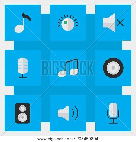 Elements Record, Speaker, Loudspeaker And Other Synonyms Loudness, Control And Music.  Vector Illustration Set Of Simple Melody Icons.