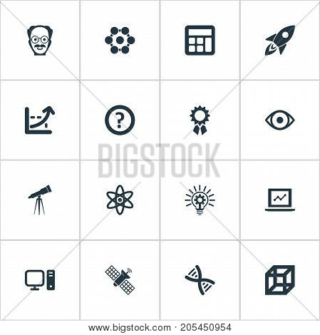 Elements Administration, Square, Telescope And Other Synonyms Attendant, Scholar And Administration.  Vector Illustration Set Of Simple Knowledge Icons.