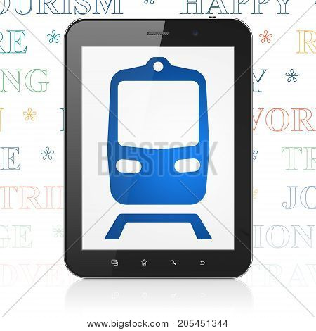 Vacation concept: Tablet Computer with  blue Train icon on display,  Tag Cloud background, 3D rendering