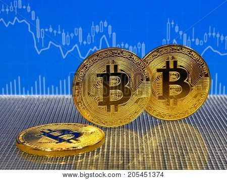 Golden bitcoin on blue abstract finance background. Bitcoin cryptocurrency