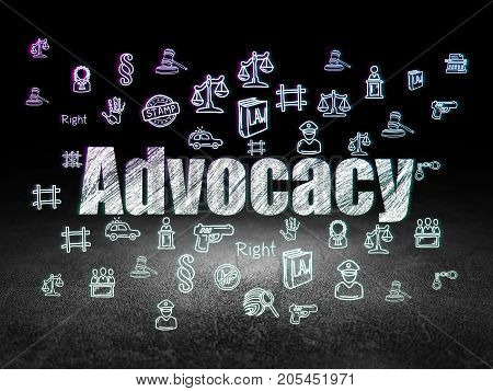 Law concept: Glowing text Advocacy,  Hand Drawn Law Icons in grunge dark room with Dirty Floor, black background