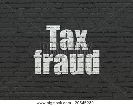 Law concept: Painted white text Tax Fraud on Black Brick wall background