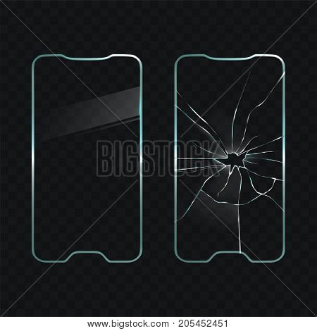 Broken and new cellphone touchscreen glass realistic vector illustration on transparent background. Protective cover for mobile phone screen. Smartphone repair, accessories and components replacement