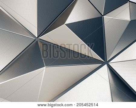 Polygonal Metal Shape with Lovely Reflections 3D Illustration