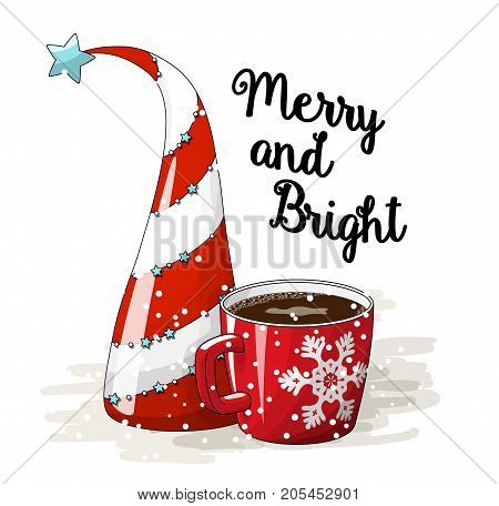 Seasonal motive, abstract red and white christmas tree. red cup of coffee and text Merry and Bright, vector illustration, eps 10 with transparency