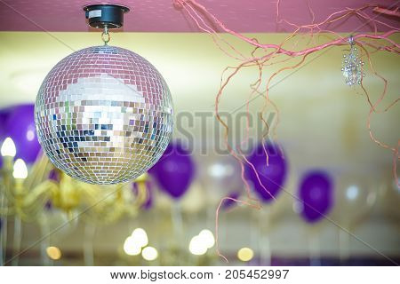Disco Background With Shiny Retro Disco Ball. Great Background For Disco Party Or Small Karaoke Even