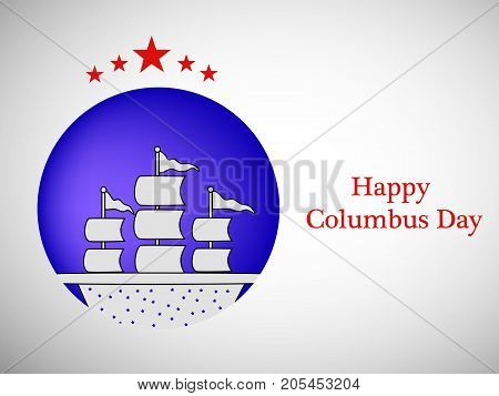 illustration of a ship and stars with Happy Columbus Day text on the occasion of Columbus Day