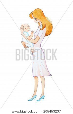 Hand-drawn watercolor illustration of pretty young mother holding newborn smiling and looking kindly at him.