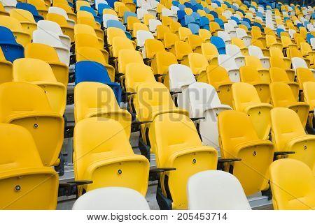 KIEV (KYIV) UKRAINE - October 04 2012: Empty chairs before a football match.