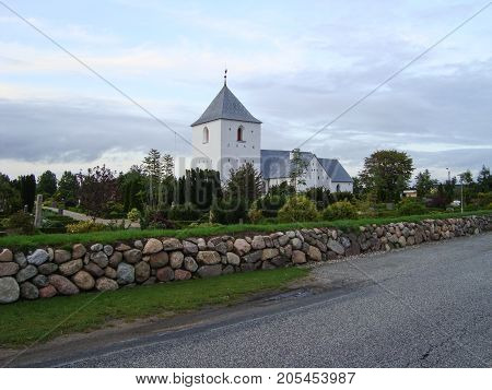 Ajstrup church in the Danish countryside in North Jutland