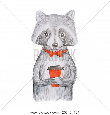 Cute grey raccoon wearing red bow tie holding a takeaway cup of coffee with both hands hand-drawn.