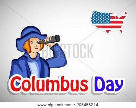 illustration of a man and US map in US flag background with Columbus Day text on the occasion of Columbus Day