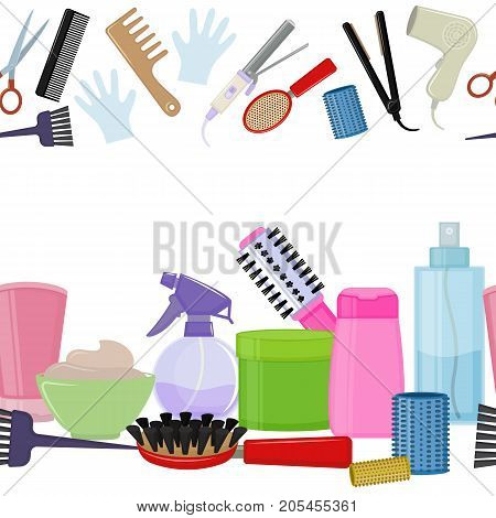 Seamless horizontal borders of colorful equipments for styling and hair care. Products and tools for home remedies of hair care. Vector
