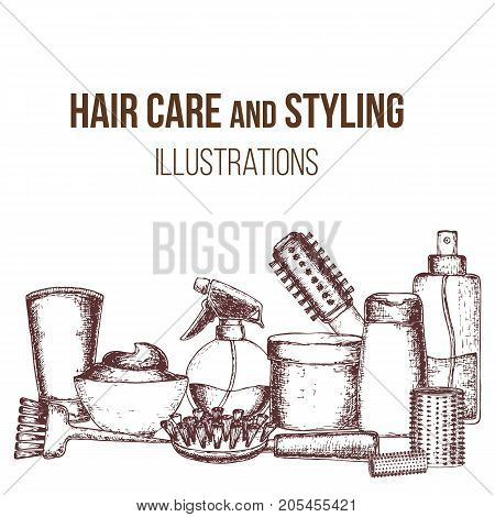 Set of sketch equipments for styling and hair care. Products and tools for home remedies of hair care. Vector