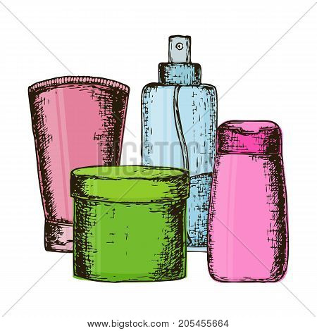 Set of colorful equipments for styling and hair care. Products for home remedies of hair care. Vector