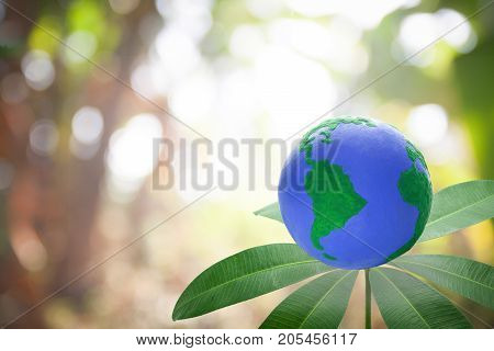 green environment concept.Globe on the tree On the background blurred