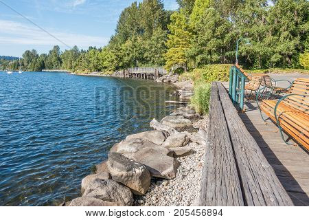 A view of the shoreline at Gene Coulon Park in Renton Washington.