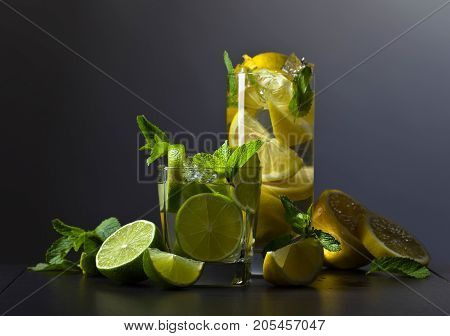 Drinks With Citrus And Peppermint.