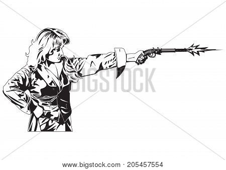 Black and white illustration of shooting people