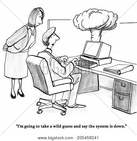 Technology and business cartoon showing smoke coming out of a computer, the system is down.