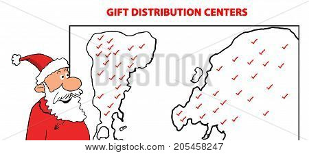 Christmas cartoon illustration showing Santa Claus looking at his worldwide gift distribution centers.