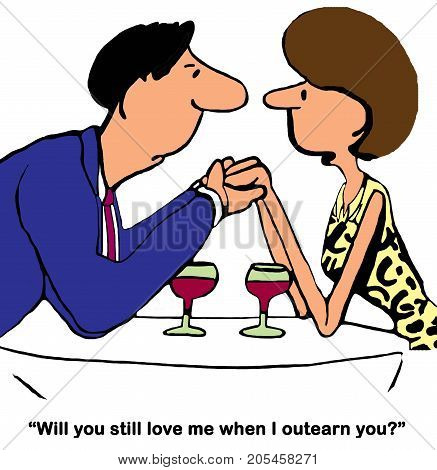 Business and relationship cartoon showing a woman asking her husband if he will love her when she outearns him.