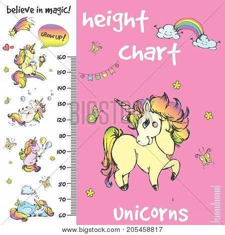 Kids height chart.Hand drawn unicorns, funny vector illustration