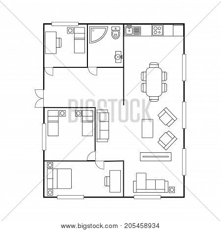 Architecture plan with furniture. House floor plan, isolated on white background, stock vector illustration
