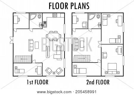 Architecture plan with furniture. House First and second floor plan, isolated on white background, stock vector illustration