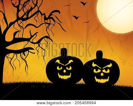 illustration of pumpkin faces, tree and moon on the occasion of Halloween