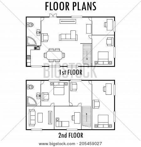Architecture plan with furniture. House First and second floor plan, isolated on white background, stock vector illustration.
