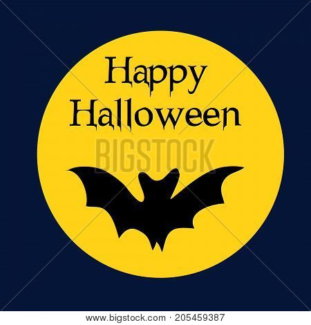 illustration of bat and moon with happy Halloween text on the occasion of Halloween