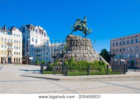 Kiev,Ukraine, MAY 12, 2013:Monument to Hetman Bogdan Khmelnitsky in Kiev