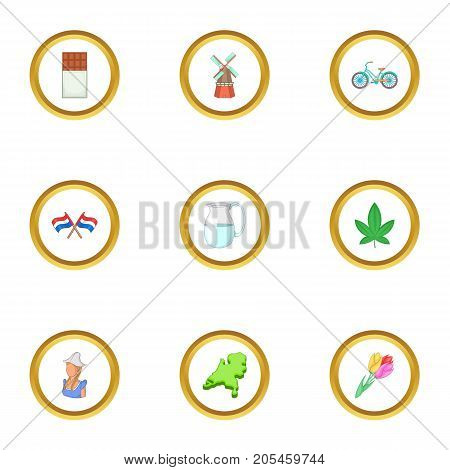 Typical Netherlands icons set. Cartoon style set of 9 typical Netherlands vector icons for web design