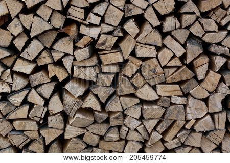 Stack Of Firewood. Big Pile Of Firewood For The Furnace